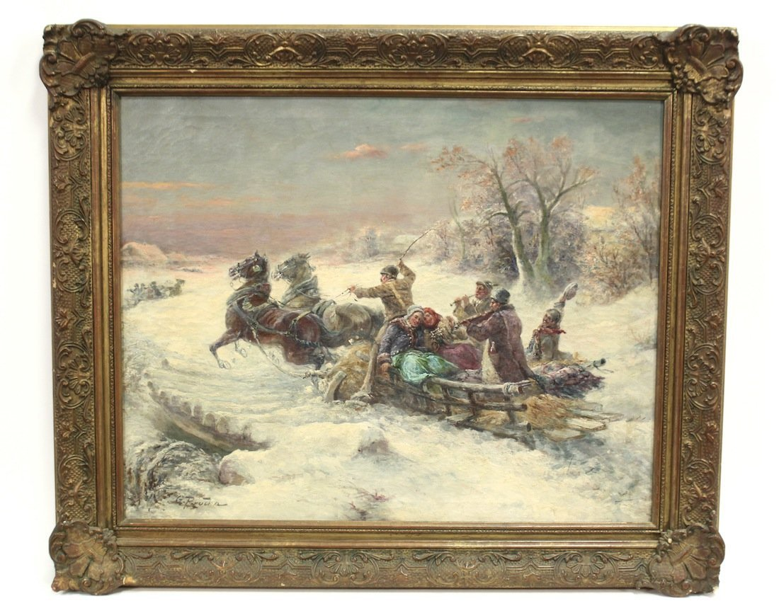 19th century Russian or  Polish oil on canvas Painting