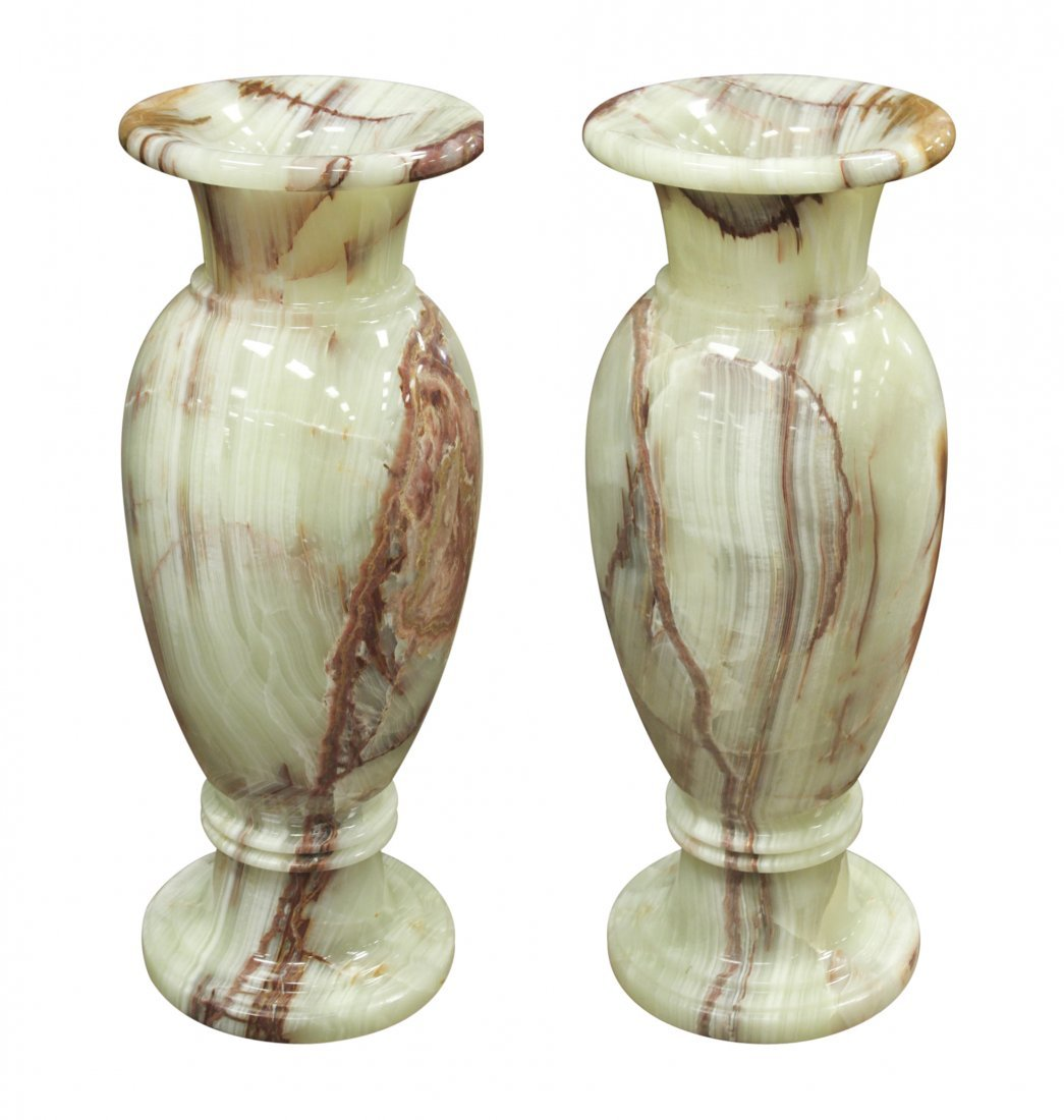 Palace Size Pair Of Green Veined Onyx Vases