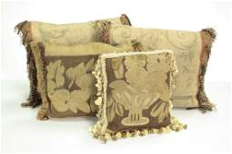 Two Antique Aubusson Tapestry Pillows