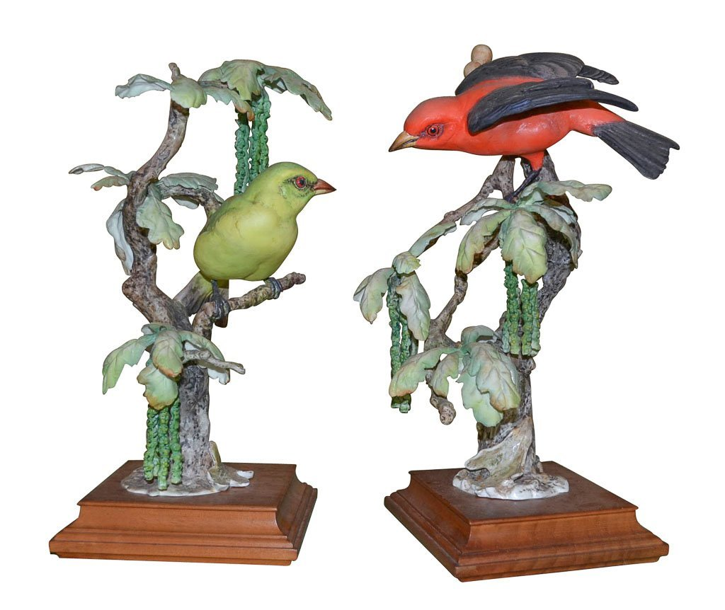 Pair Of Dorothy Doughty Birds, Scarlet Tanager