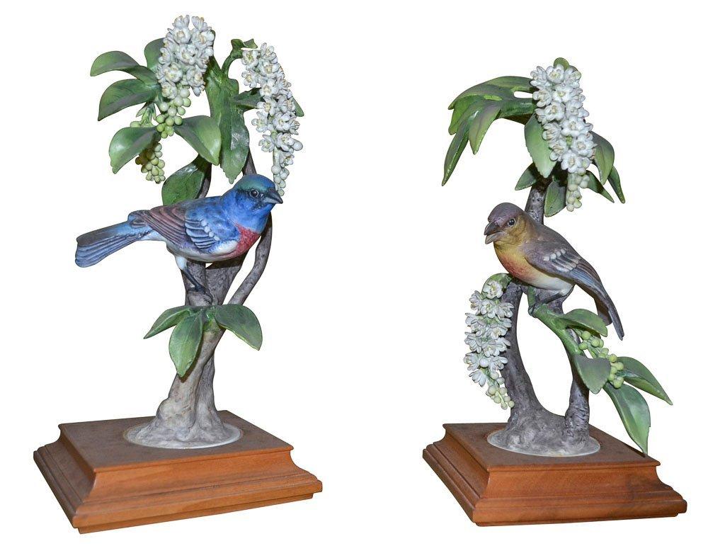 Pair Of Dorothy Doughty Birds, Lazuli Bunting
