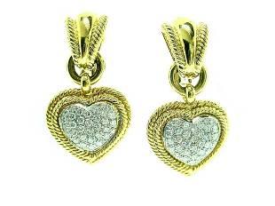 Piranesi 18k Yg Pave' Diamond Heart Earrings