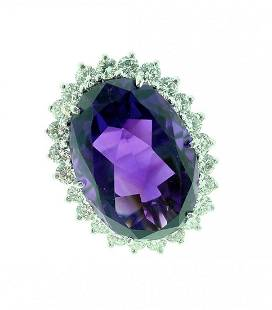 14k White Gold Large Oval Amethyst Ring