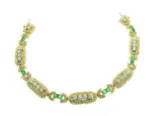 18k Emerald & Diamond Link Bracelet