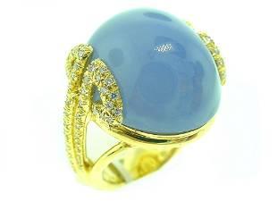 Henry Dunay 18k Yg Chalcedony & Diamond Ring