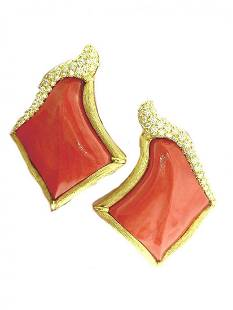 Henry Dunay 18k Large Carved Coral Earrings