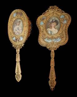 Enamel Brush And Mirror