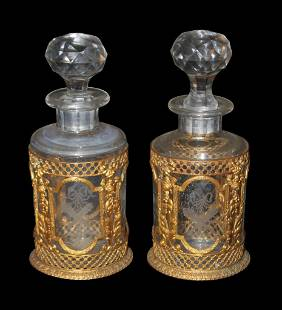 Fine Pair Of Etched Glass Perfume Bottles