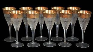 Set Of 10 Moser Gold Overlay Wine Glasses