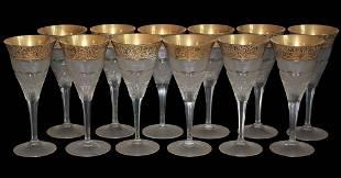 Moser. Set Of 12 Gold Overlay Wine Glasses