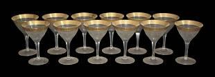 Moser. Set Of 12 Gold Overlay Sherbet Glasses
