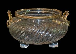 Very Heavy Continental Cut Crystal Bowl
