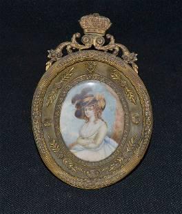 Detailed French Napoleon Iii Oval Bronze Frame