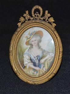 19th Century Gilt Filagree Bronze Frame Portrait