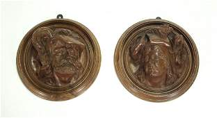 Pr19th C French Carved Walnut Figural Plaques