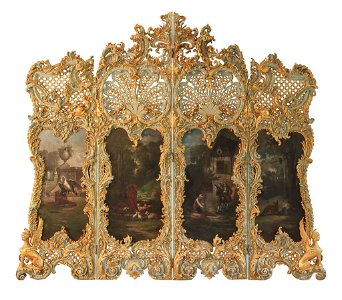 Rare Continental 19th C. Highly Carved Screen