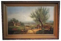 English Oil On Canvas, Farm Scene