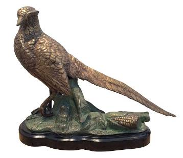 Cold Painted Bronze Pheasant. 20th C.