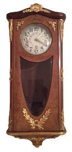 Continental Burl & Gilt Bronze Wall Clock