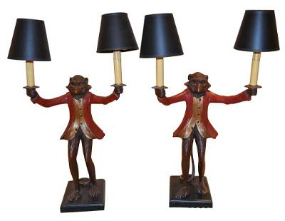 Pair Of Carved And Painted Monkey Form Lamps