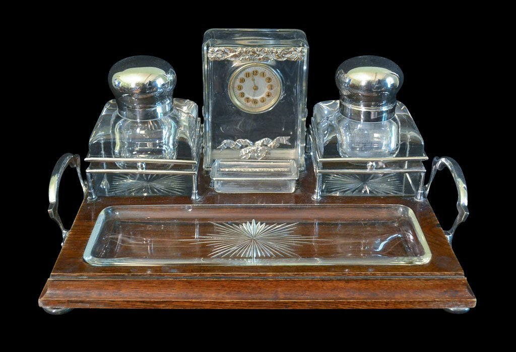 Superb Early 20th C. English Crystal Inkwell