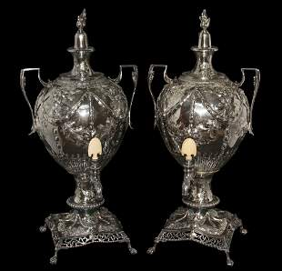 Good Pair Of English Silver Plate Urns