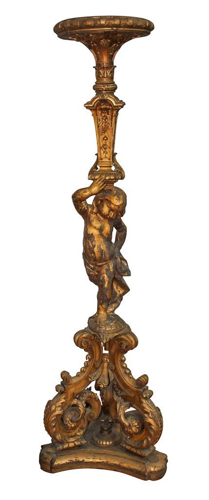 French Carved And Giltwood Cherub Form Torchiere