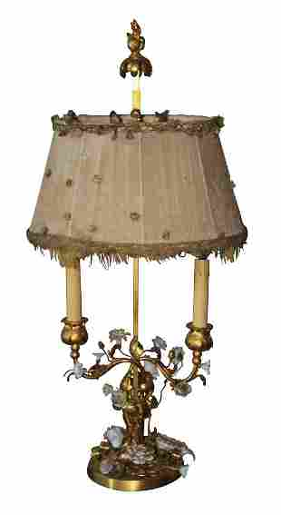 French Bronze And Porcelain Lamp