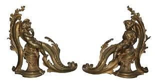 Pair Of French Bronze Cherub Form Chenet