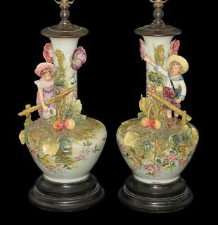 Pair Of French Majolica Figural Lamps