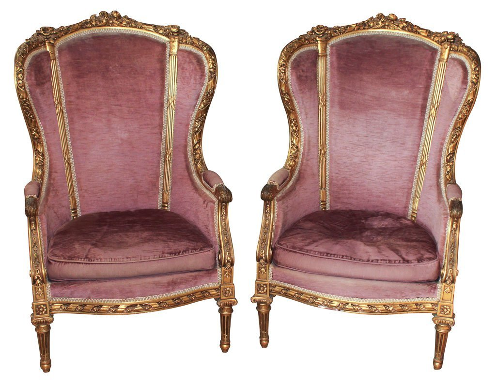 Pair Of French Giltwood Wing Back Bergeres
