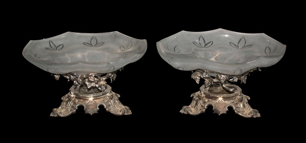 Pair Of Silver Plate Tazzas