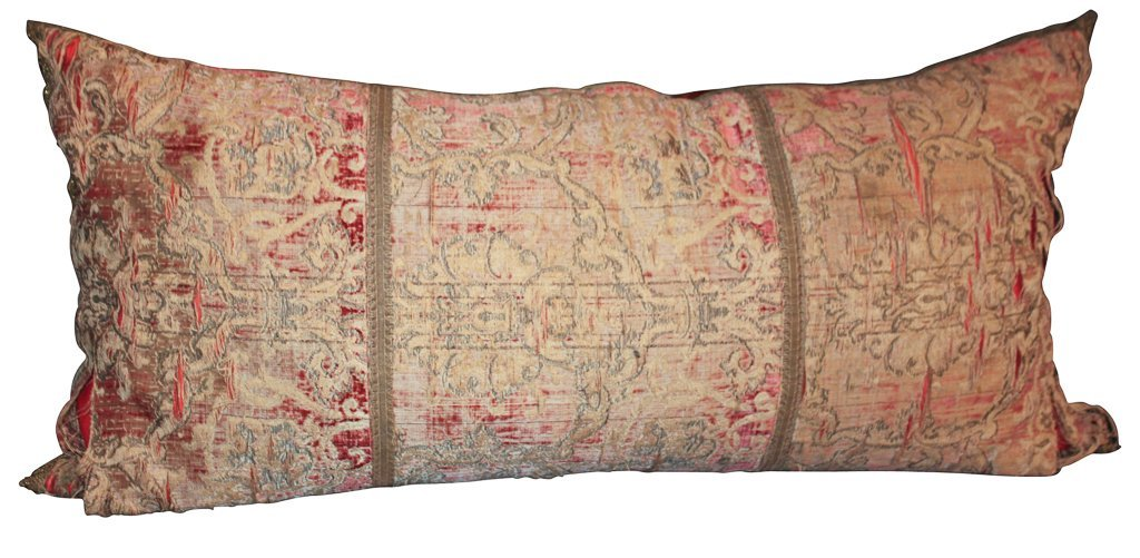 Large Antique Silk And Velvet Pillow