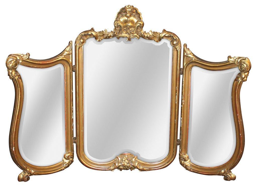 French Louis Xv 3 Panel Gilt Wood Vanity Mirror