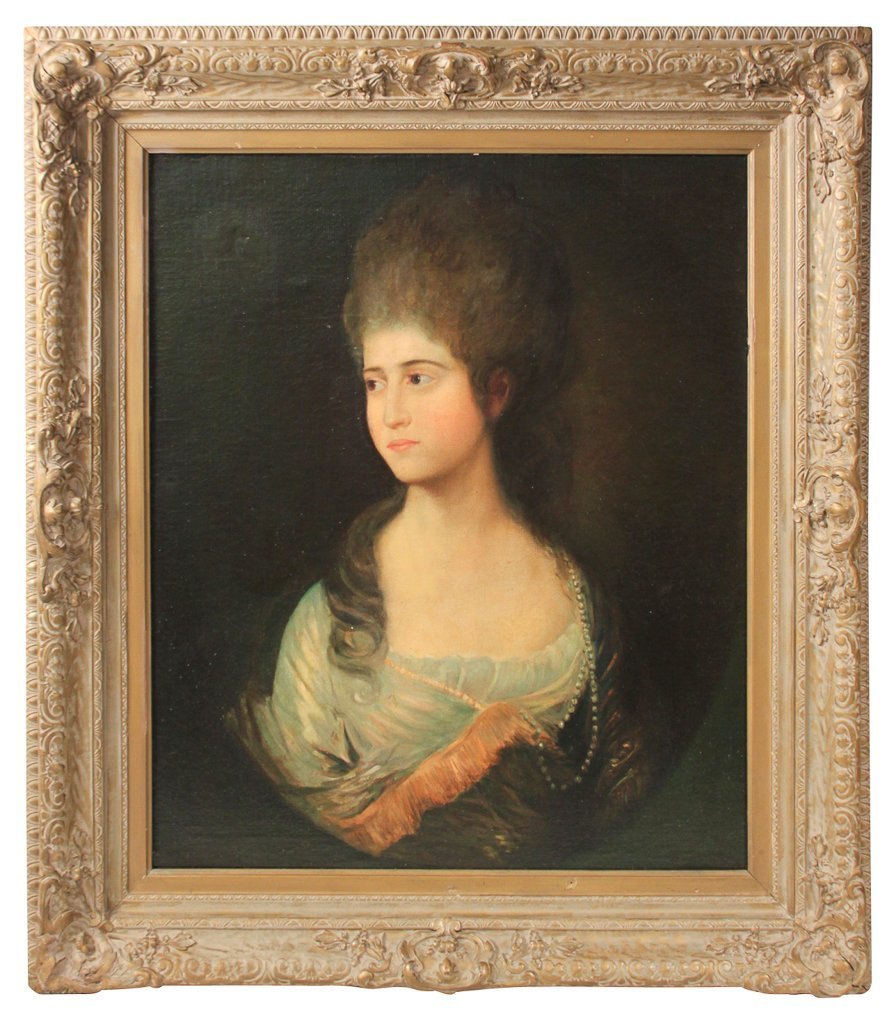 18th C.  English Portrait, Oil On Canvas