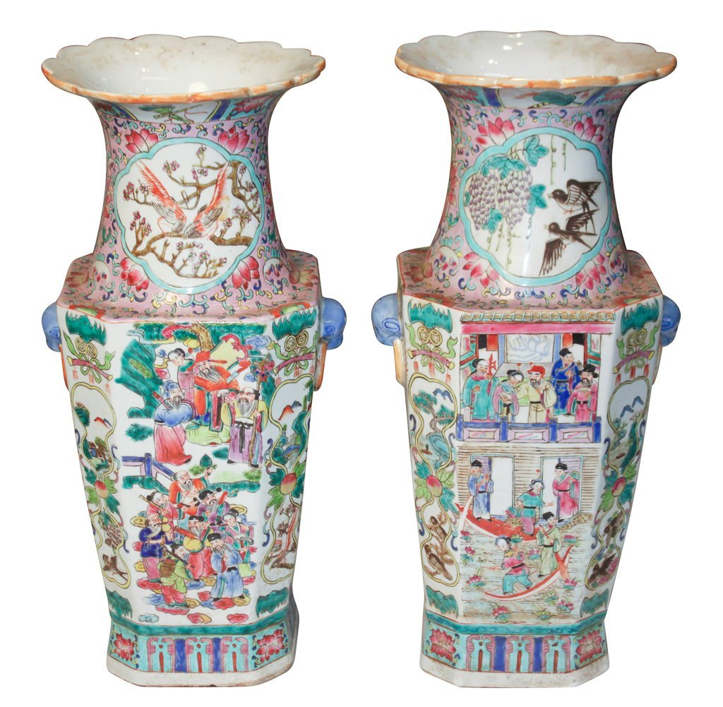 Pair Of Antique Chinese Rose Medallion Vases