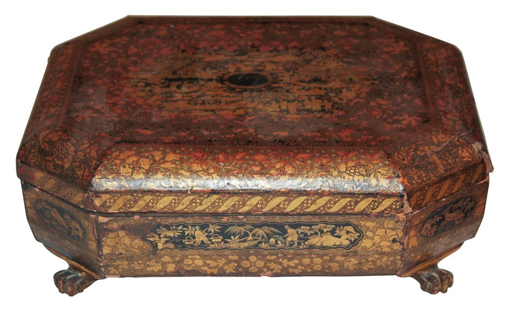 19th Century English Lacquered Tea Caddy