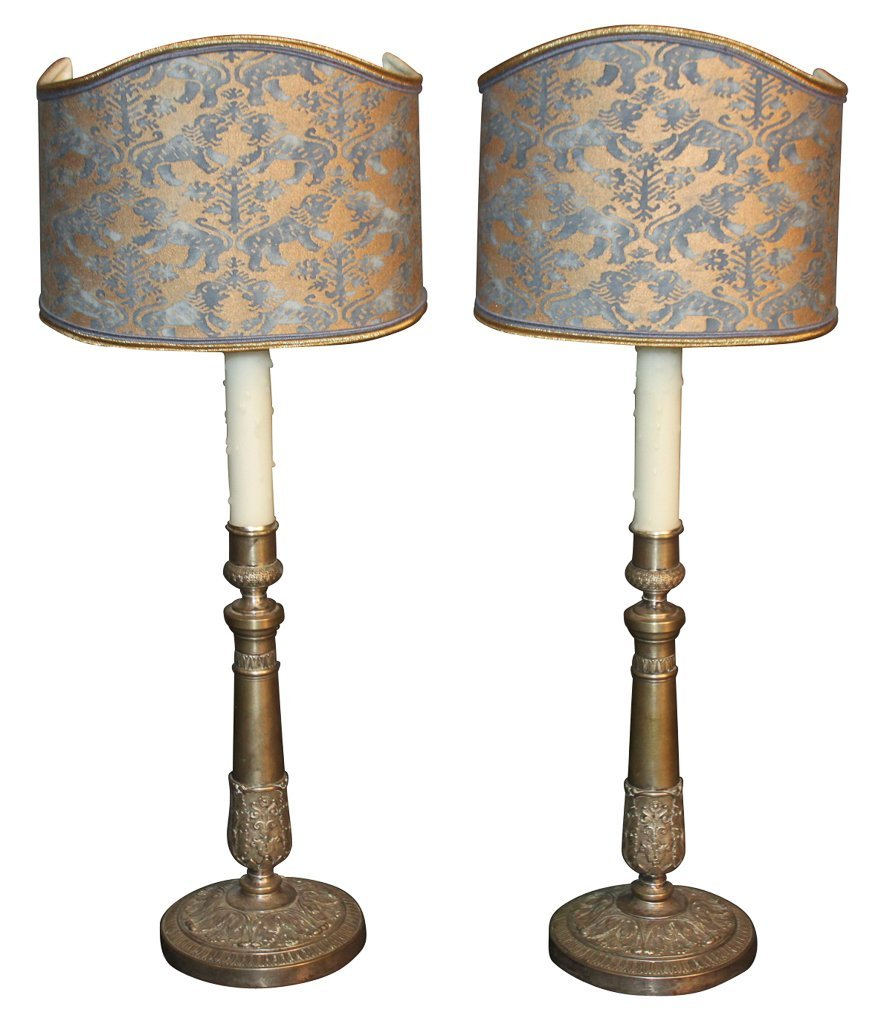 Pair Of French Bronze Candlesticks As Lamps