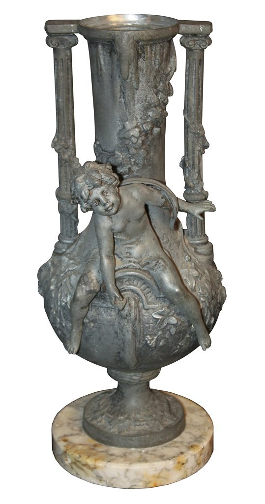 French Spelter Vase On Marble Base