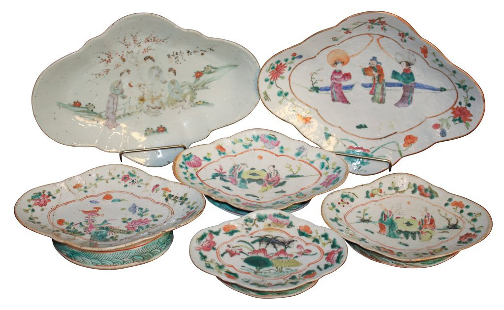 Group Of Antique Chinese Scalloped Dishes