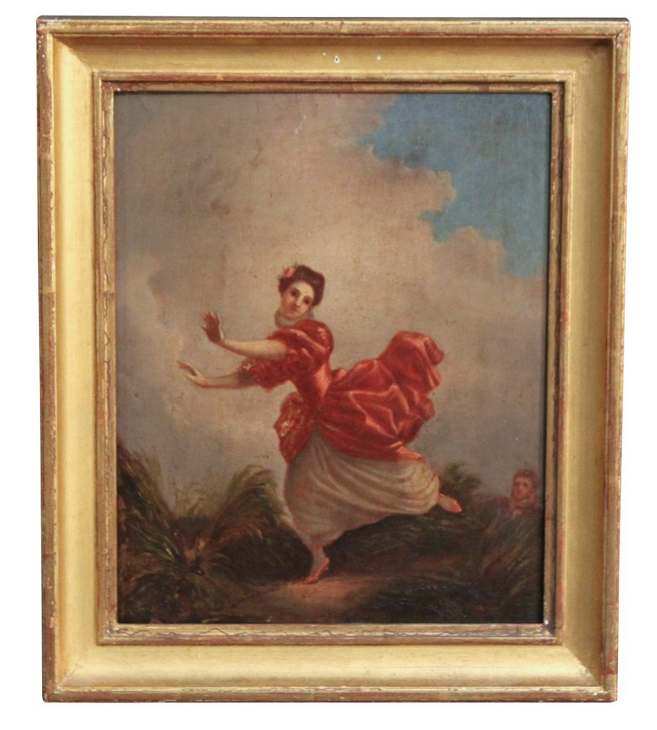 19th Century French Oil On Board Of Lady Dancing