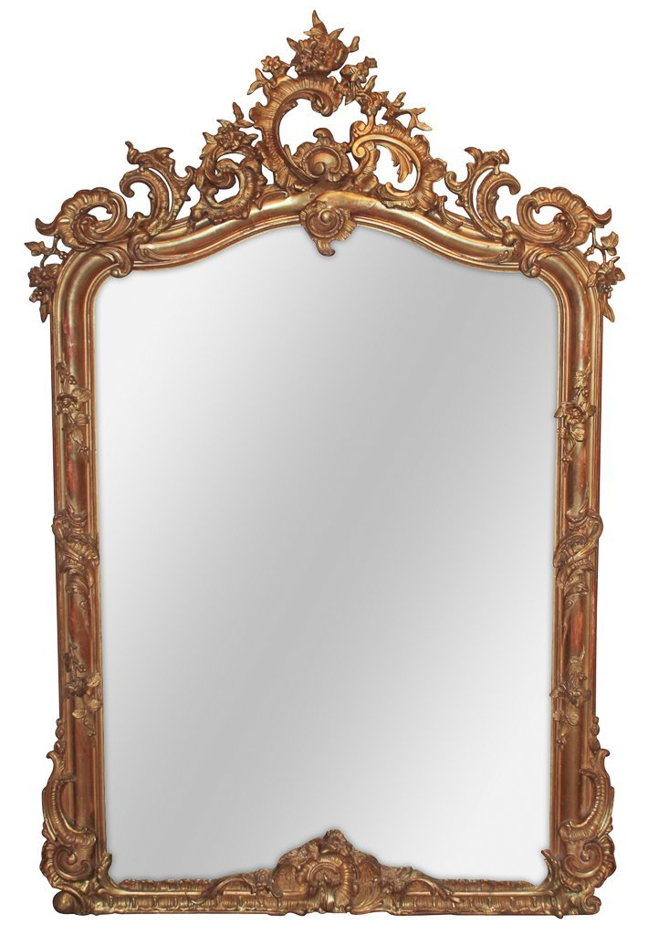 19th C. French Louis Xv Giltwood Mirror