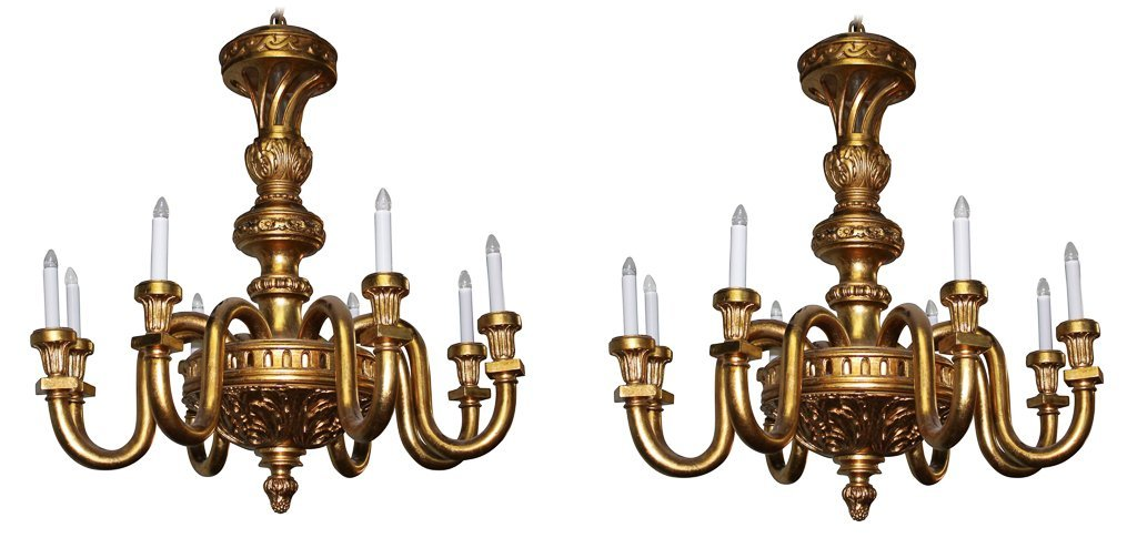 Pair Of Continental Giltwood Chandeliers