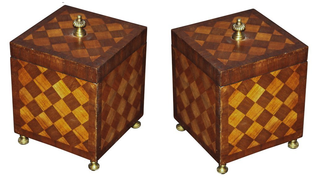 Pair Of English Parquetry Tea Caddys