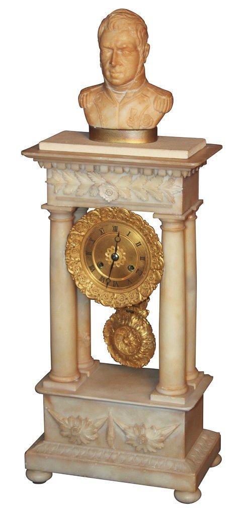 19th c. French Alabaster Mantel Clock