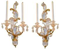 Pair Of Antique Rock Crystal And Bronze Sconce