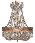 French Crystal And Bronze Basket Chandelier