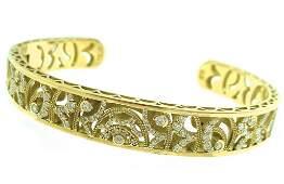 Tacori 18k Yg Diamond Cuff Bracelet