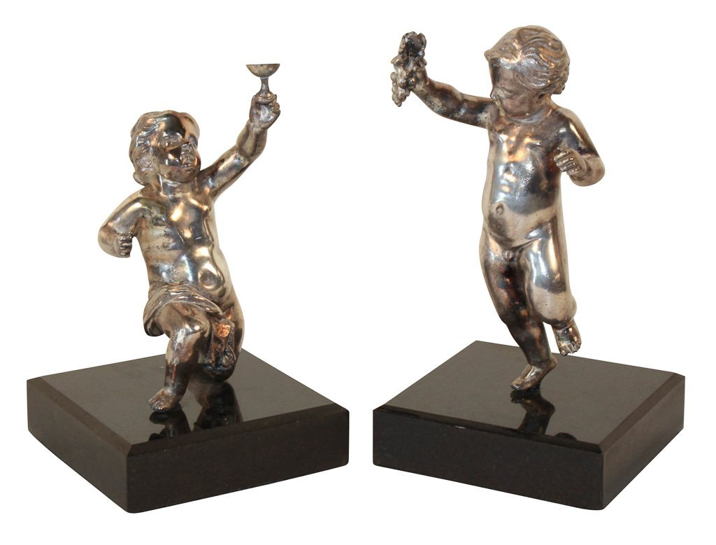 Pair Of French Silver Over Bronze Putti