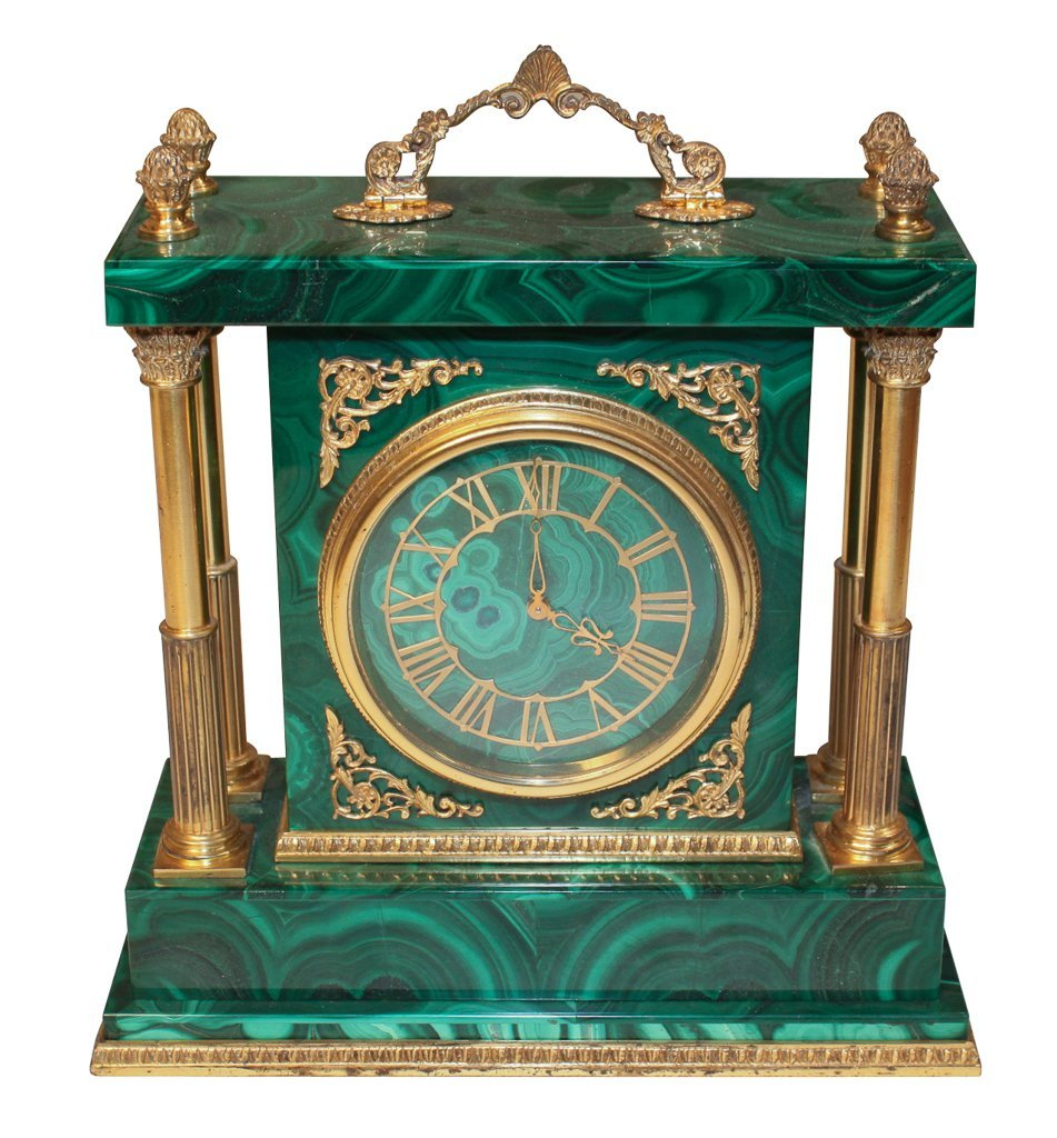 Malachite And Gilt Brass Desk Clock